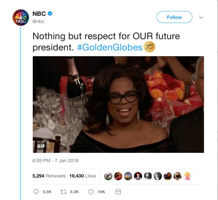 Oprah nbc president tweet