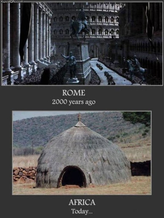 African technology mud huts vs Roman buildings
