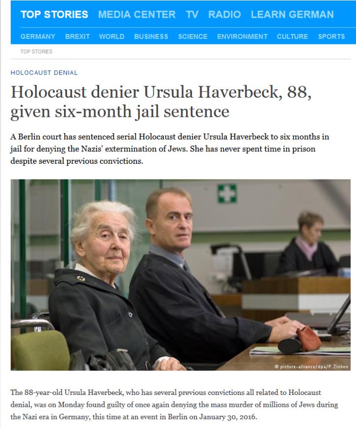 Holocaust-fornektelse Ursula Haverbeck fengsel