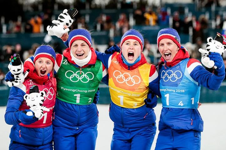 Norge OL kvinner stafettgull langrenn, Østberg, Jacobsen, Haga, Bjørgen