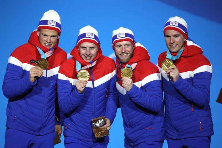 OL Norge Stafett gull, Tønseth, Sundby, Krüger, Klæbo