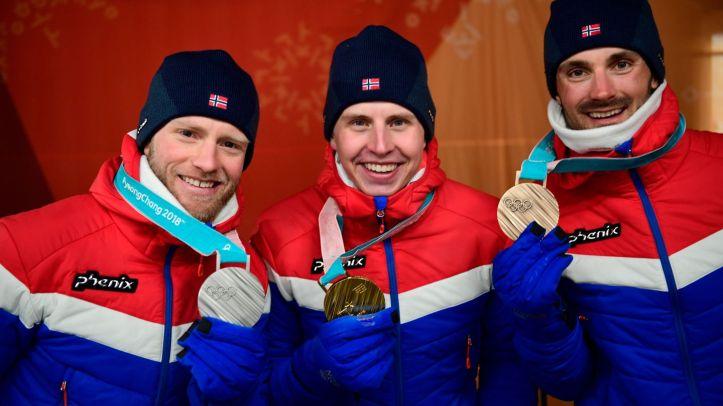 Simen Hegstad Krueger, Martin Johnsrud Sundby, Hans Christer Holund OL Pyeongchang medaljer
