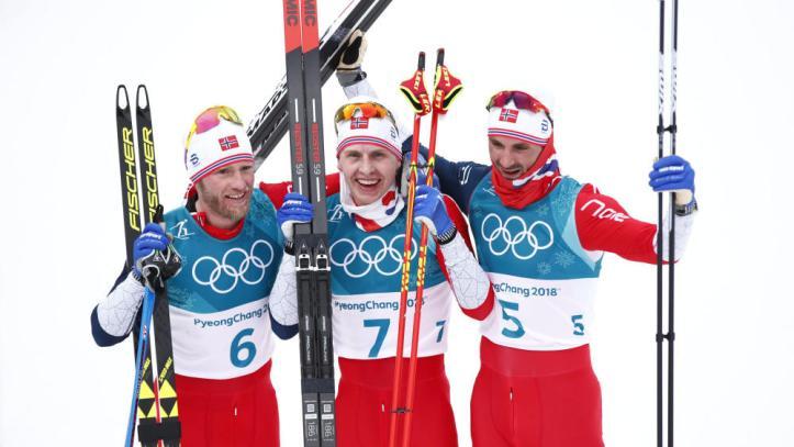 Simen Hegstad Krueger, Martin Johnsrud Sundby, Hans Christer Holund OL Pyeongchang