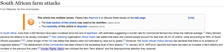 South africa killings wiki