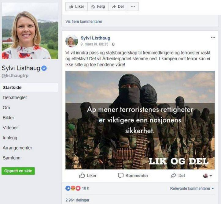 Sylvi Listhaug facebook-innlegg terrorister