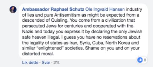 Israels ambassadør Raphael Schutz - nordmenn Quisling