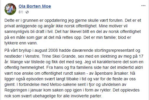 Ola Borten Moe facebook Skjermbilde