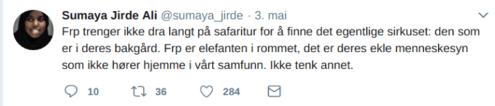 sumaya-jirde-ali-kritiserer-frp-twitter