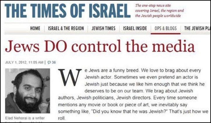 Times of Israel jøder og mediene