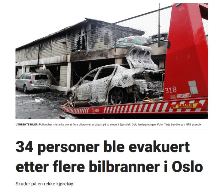 34 evakuert etter bilbranner i Oslo
