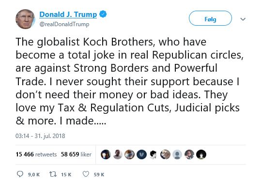 Trump Twitter Koch brødrene