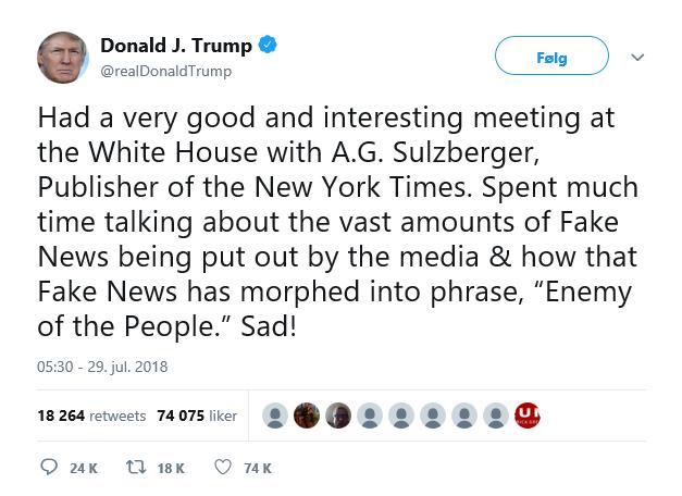 Trump Twitter NYT fake news