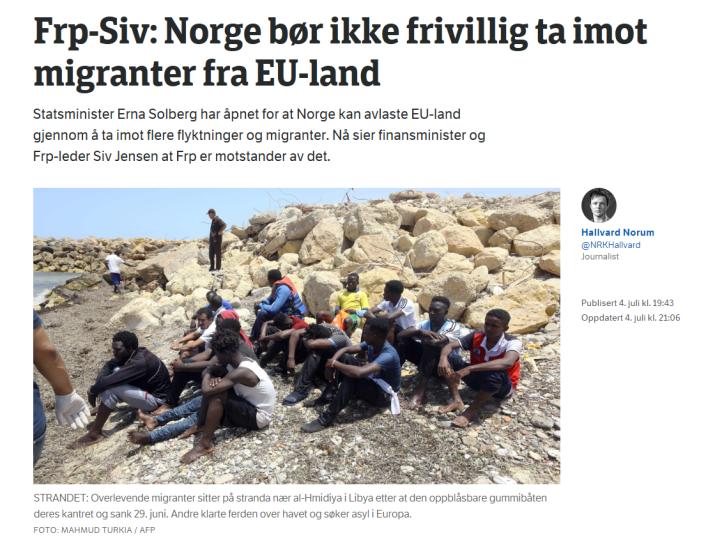 Siv Jensen innvandring NRK