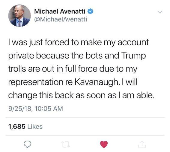 Avenatti forklaring twitter