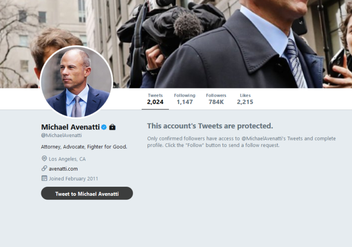 Avenatti protected twitter account