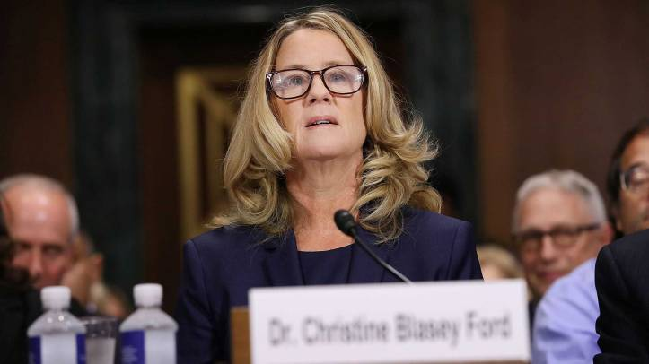 Christine Blasey Ford prepares to testify before the Senate Judiciary Committee in the Dirksen Senate Office Building at the Capitol Hill in Washington