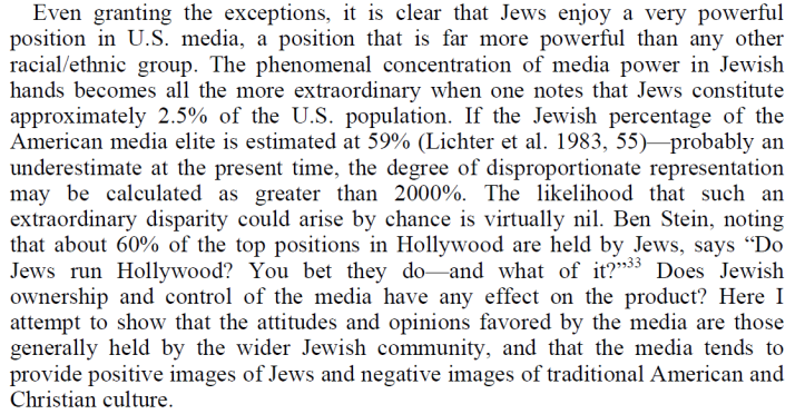 Culture of Critique, Jews in the media