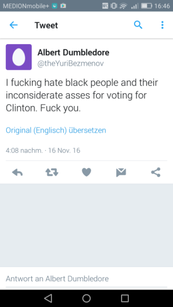 twitter hate speech against blacks