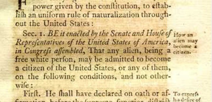 US Constitution - Free white persons