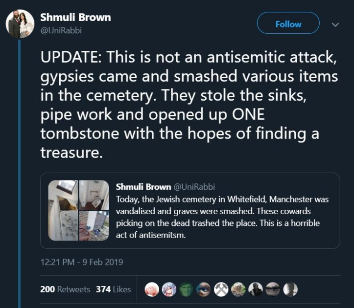 antisemitic attack manchester gypsies
