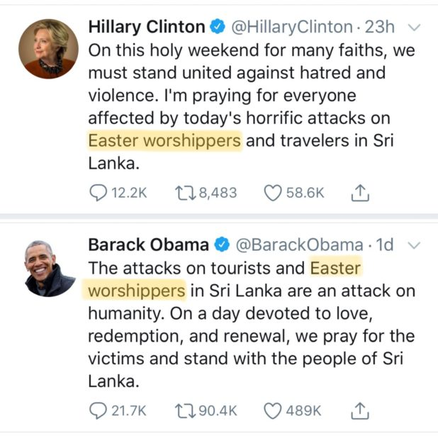 obama and hillary twitter christians attacked
