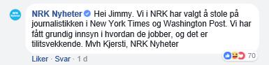 NRK - NYT og WaPo - stoler på dem helt