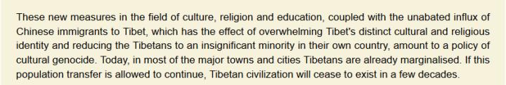 Dalai Lama Tibet cultural genocide