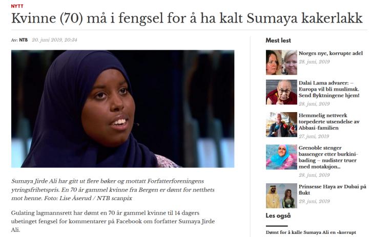 Sumaya Jirde Ali - kvinne dømt for hatytring