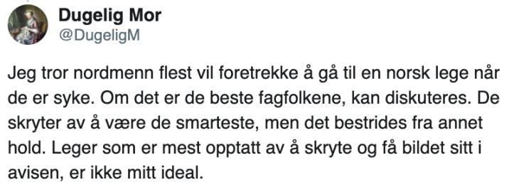 dugelig mor om norske leger