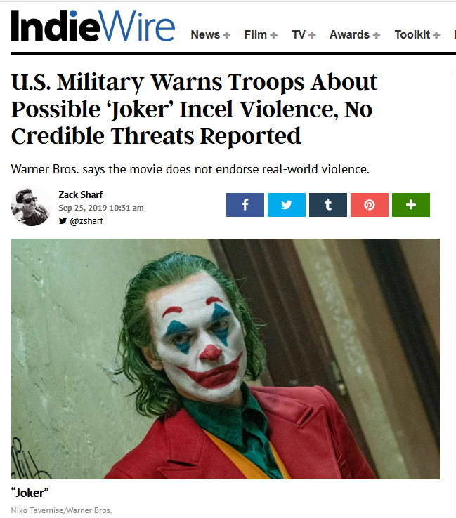 Joker violence indiewire