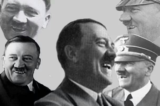 Hitler laughing bw