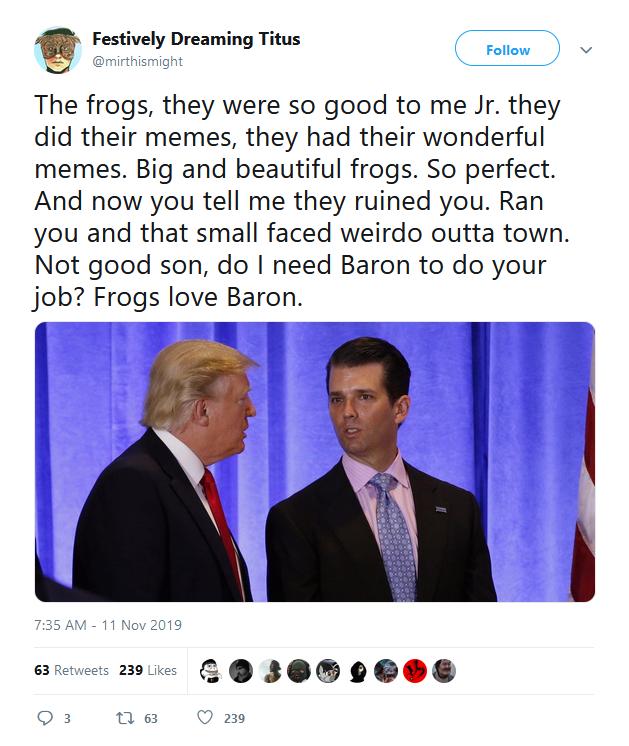 Trump jr og Trump frosker groyper