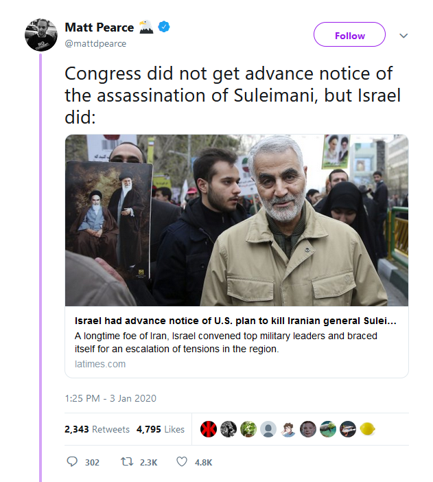 Israel advance notice of Soleimani killing