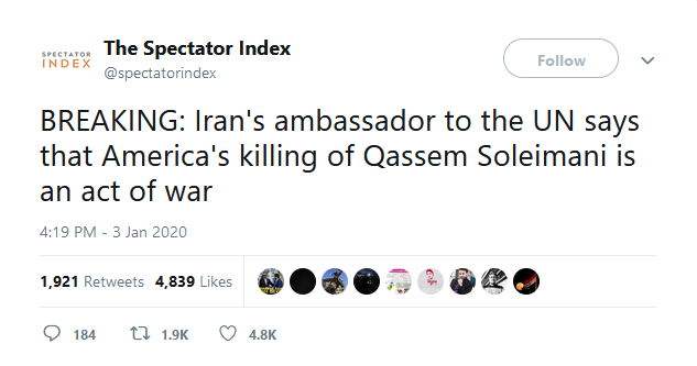 Spectator Index - Soleimani killing an act of war
