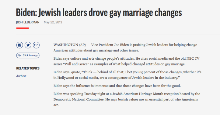 Biden - Jews and gay marriage