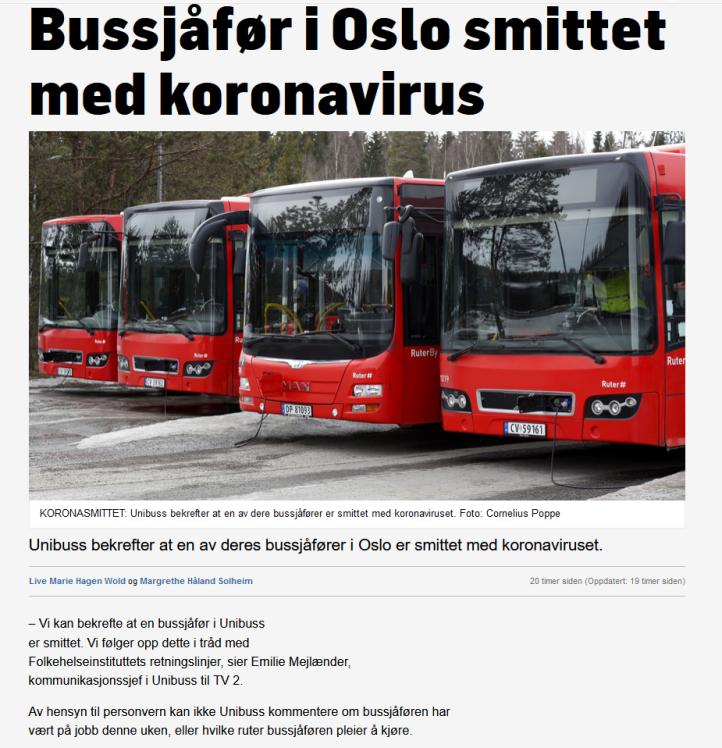 Bussjåfør smittet av korona Oslo