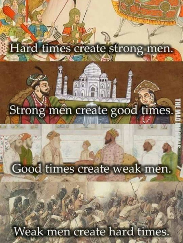 Hard times create strong men, strong men create good times, good times create weak men, weak men create hard times