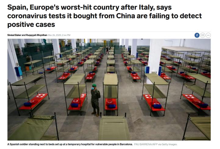 Spania, tester fra Kina fungerte dårlig