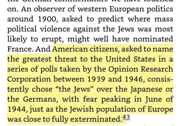 Americans considered Jews a threat during WWII