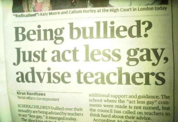 Bullied - act less gay